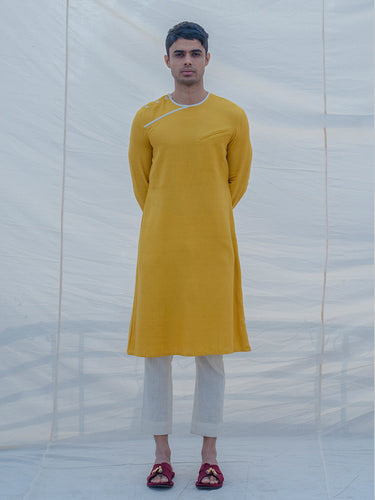 Cotton X Linen Indisputably Yellow Kurta - Bohame