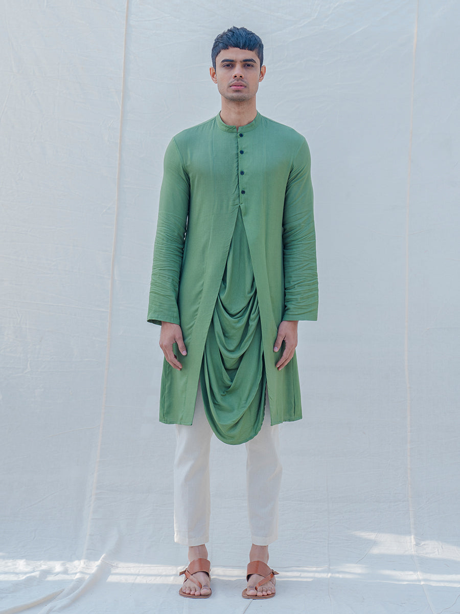 Cotton X Rayon Green Cowl Kurta - Bohame