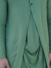 Load image into Gallery viewer, Cotton X Rayon Green Cowl Kurta - Bohame