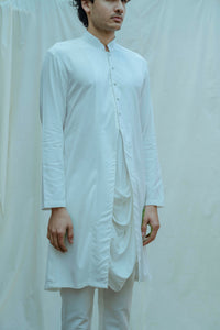 Cowl Kurta In White Tencel - Bohame