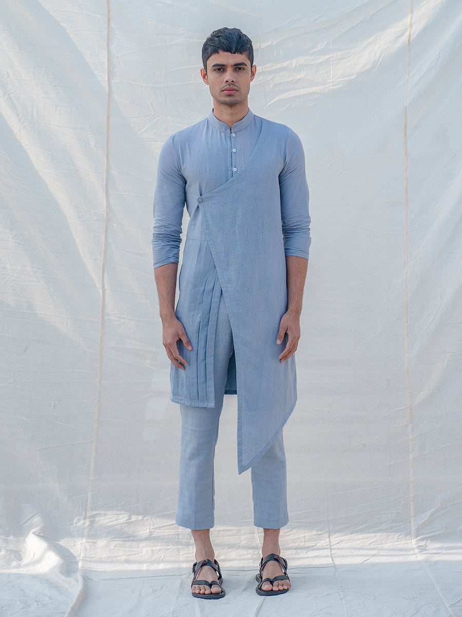 Cotton X Linen Blue and Light Kurta - Bohame