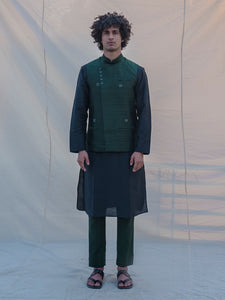 Raw Silk Green Waist Coat - Bohame