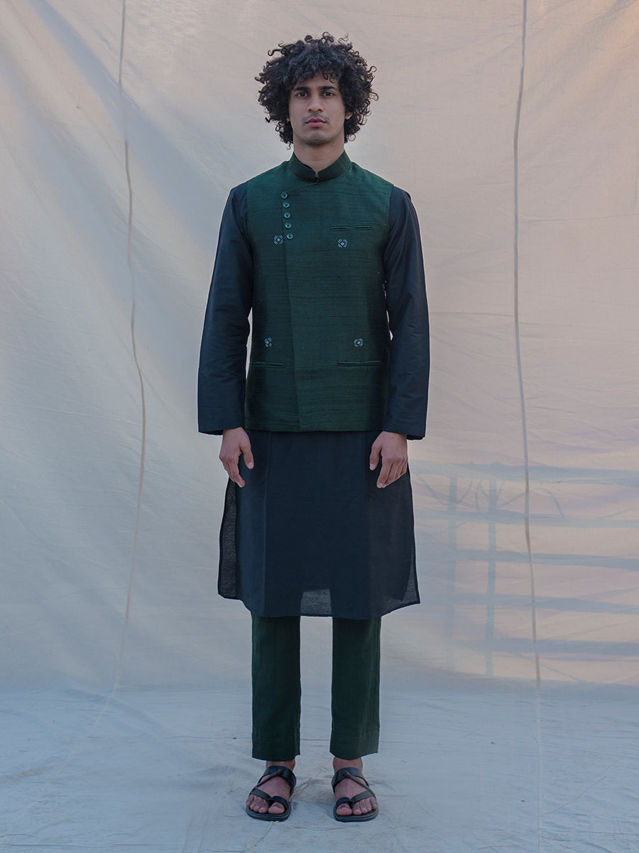 Raw Silk Green Waist Coat, Kurta and Pant Set - Bohame