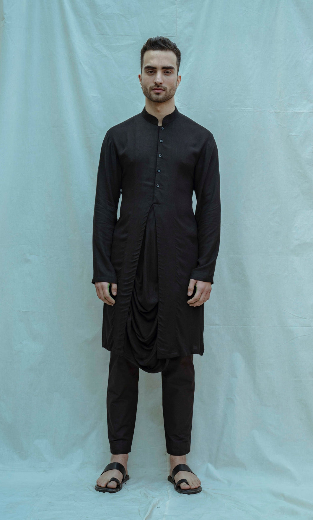 Cowl Kurta In Black Tencel - Bohame
