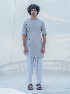 Cotton X Linen Slay in Grey Kurta - Bohame