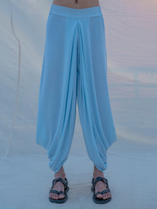 Cotton X Rayon Drenched in Aqua Dhoti - Bohame