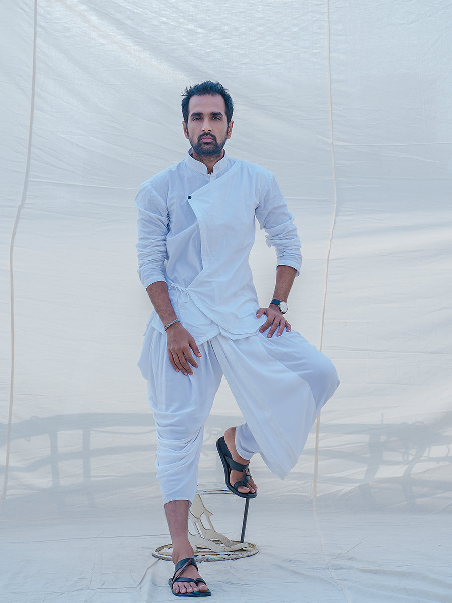 White & Divine Cotton Kurta - Bohame