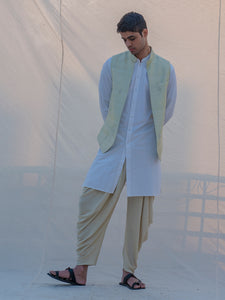 Raw Silk Pista Waist Coat - Bohame