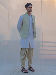 Raw Silk Pista Waist Coat, Dhoti and Kurta Set - Bohame