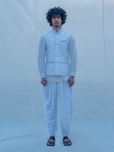 Raw Silk Off White Waist Coat - Bohame