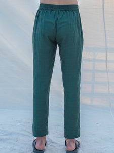 Cotton X Linen Bottled in Green Trouser - Bohame