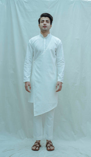 Angrakha Kurta In White