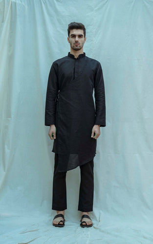 Angrakha Kurta In Black