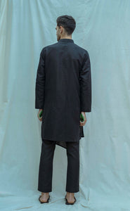 Angrakha Kurta In Black - Bohame