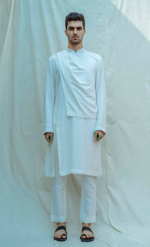 Overlapped Cowl Kurta In White