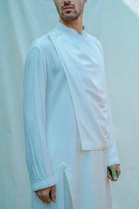 Overlapped Cowl Kurta In White - Bohame