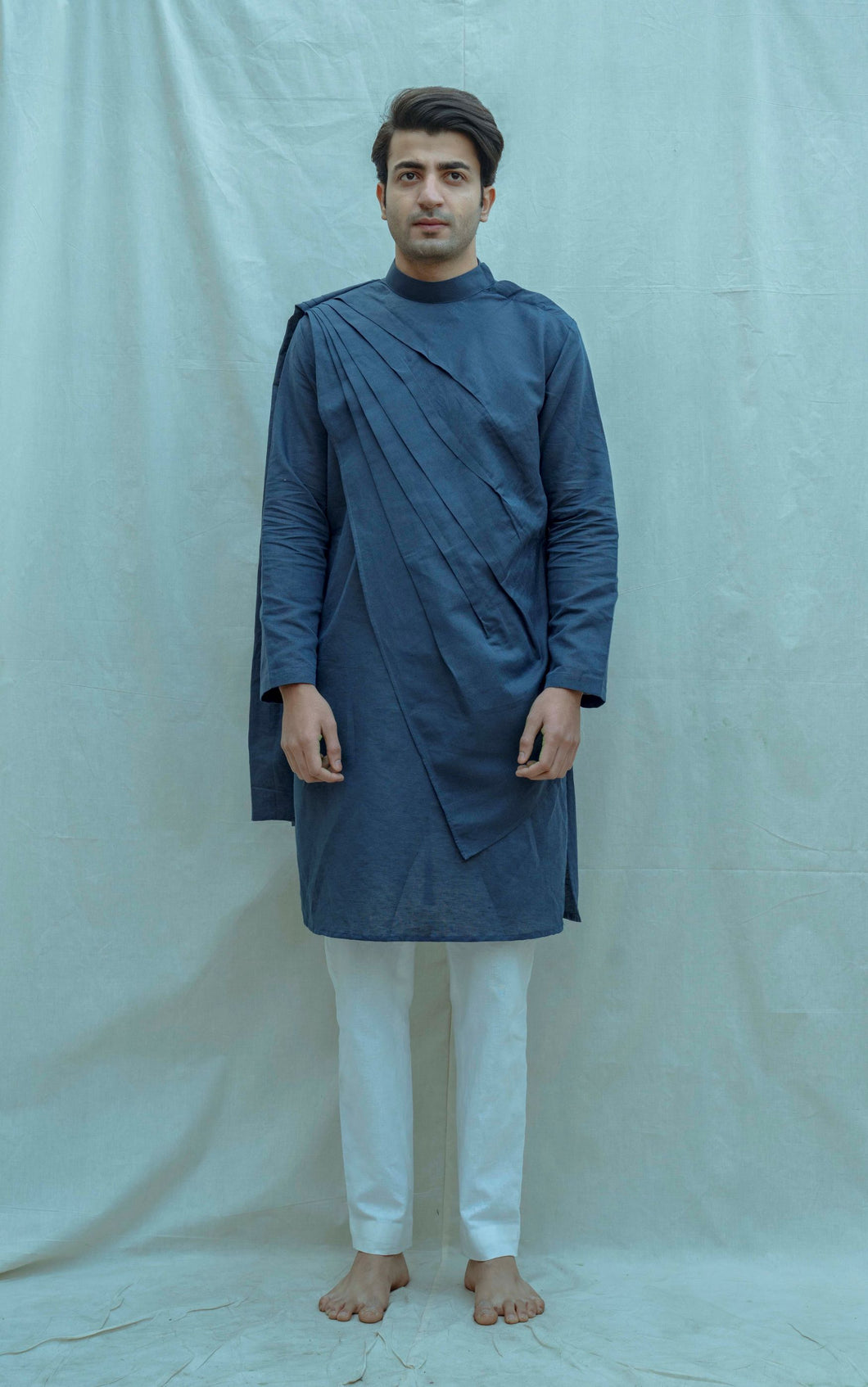 Cotton X Linen Back Pleated Kurta - Bohame