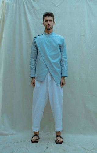 Overlapped Shirt Kurta In Light Blue