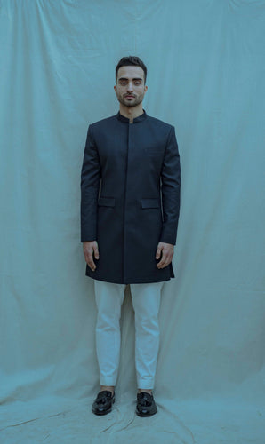 Blue Bandgala Set with No Show Button Placket