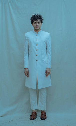 Paneled Achkan Set in Off white