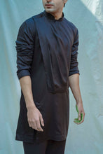 Load image into Gallery viewer, Overlapped Cowl Kurta In Black - Bohame