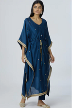 Load image into Gallery viewer, Chanderi Silk Kaftan Pant Set in Turquoise Blue
