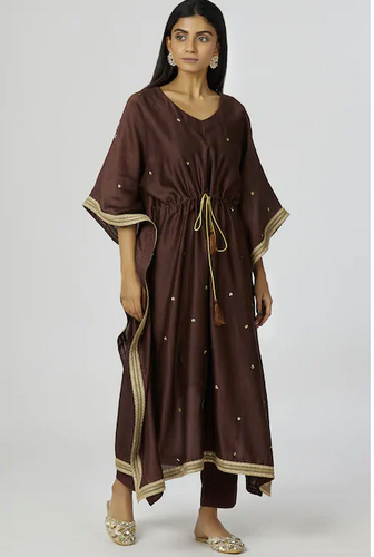 Chanderi Silk Kaftan Pant Set in Brown