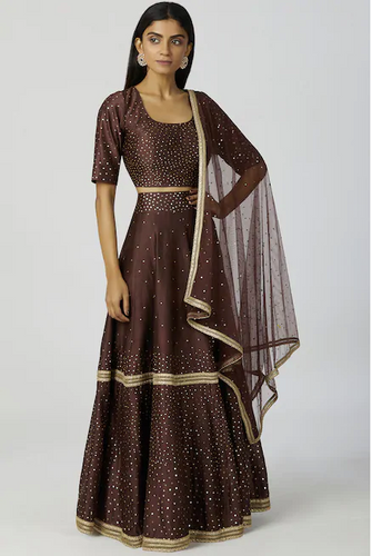 Chanderi Silk Lehenga Set in Brown