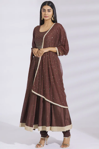 Embellished Chanderi Silk Anarkali Set in Brown