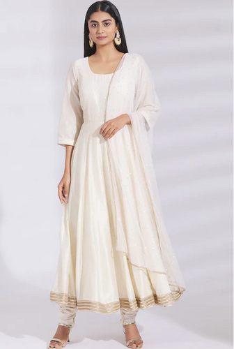Embellished Chanderi Silk Anarkali Set in Off-White