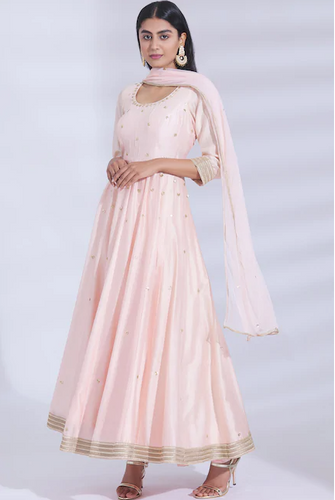 Chanderi Silk Anarkali Set in Peach