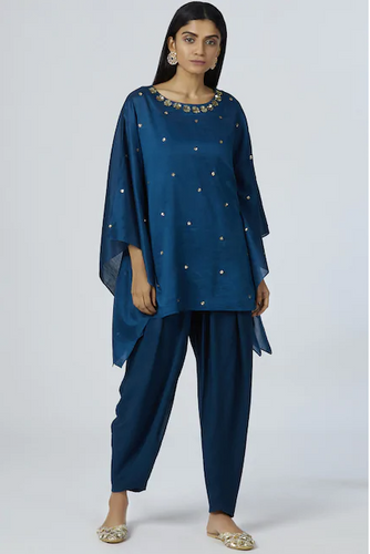 Embellished Kaftan Dhoti Pant Set in Turquoise Blue