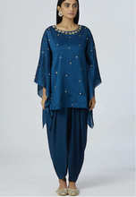 Load image into Gallery viewer, Embellished Kaftan Dhoti Pant Set in Turquoise Blue