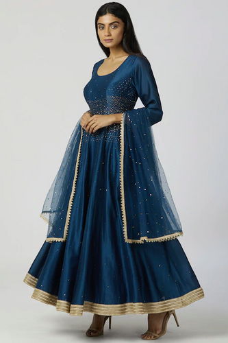 Chanderi Silk Anarkali Set in Turquoise Blue