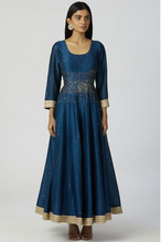 Load image into Gallery viewer, Chanderi Silk Anarkali Set in Turquoise Blue
