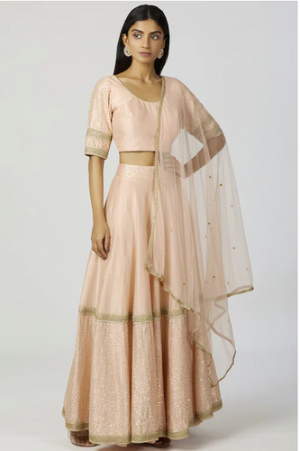 Chanderi Silk Lehenga Set in Peach