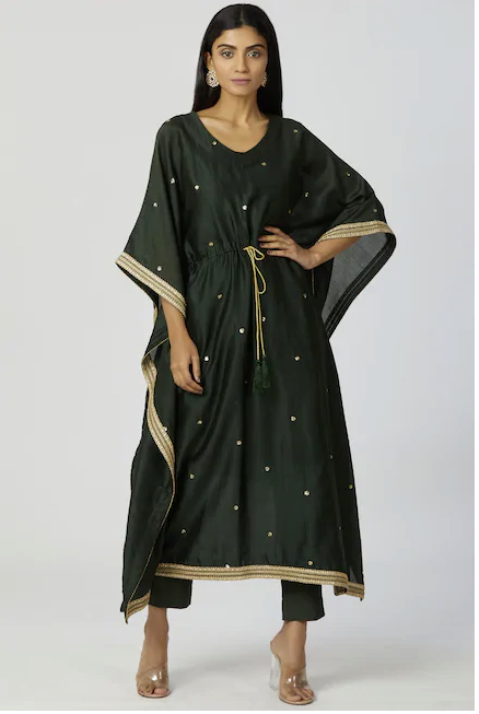 Chanderi Silk Kaftan Pant Set in Bottle-Green