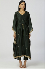 Load image into Gallery viewer, Chanderi Silk Kaftan Pant Set in Bottle-Green