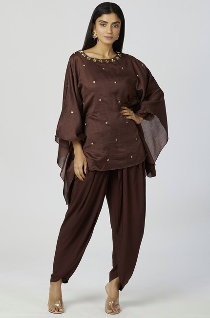 Embellished Kaftan Dhoti Pant Set in Brown