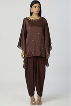 Load image into Gallery viewer, Embellished Kaftan Dhoti Pant Set in Brown