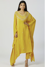 Load image into Gallery viewer, Embroidered Kaftan Mustard Pant Set