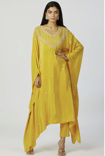 Embroidered Kaftan Mustard Pant Set