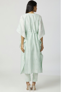 Embroidered Kaftan Mint Green Pant Set