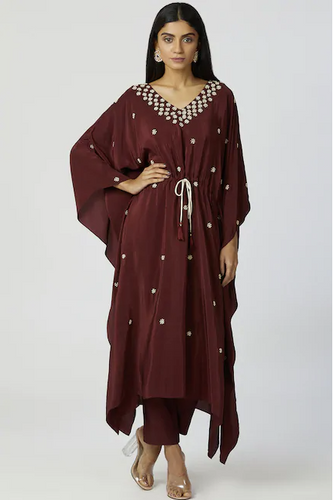 Embroidered Kaftan wine color Pant Set