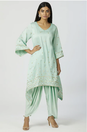Chanderi Silk Kurta Dhoti Pant Set in Mint Green