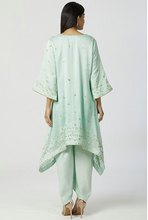 Load image into Gallery viewer, Chanderi Silk Kurta Dhoti Pant Set in Mint Green