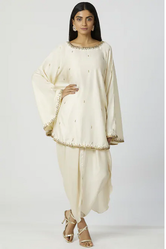 Embellished Kaftan Dhoti Pant Set in Off-White