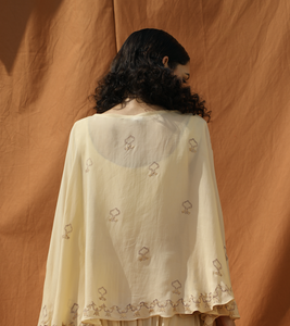 Off White Opulent Poncho with Drape Dhoti Pants - Bohame