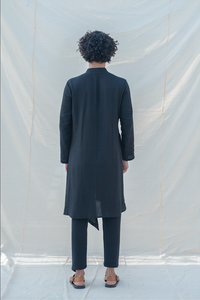 Cotton X Linen Black Kurta - Bohame