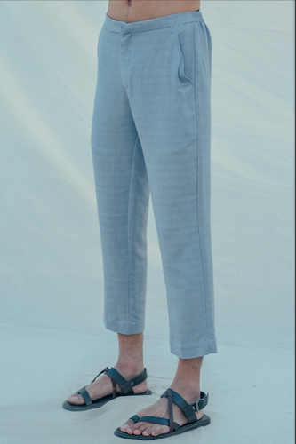 Cotton X Linen Sky Blue Trouser - Bohame